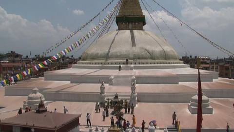Wide shot from the Boudha stupa with a tilt down Footage
