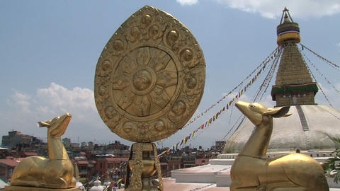 Close up from the Golden brahma symbol in front of Footage