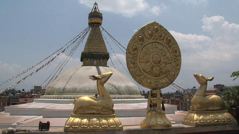 Golden brahma symbol in front of the Boudhanath St Stock Video Footage