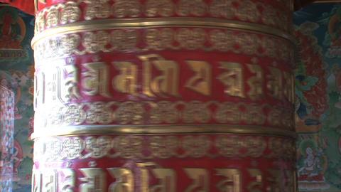 big prayer wheel at Boudhanath Stupa Stock Video Footage