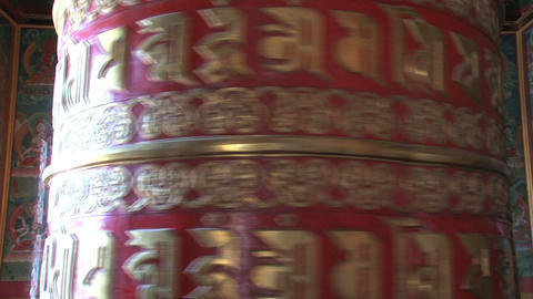Close up from a big prayer wheel at Boudhanath Stu Stock Video Footage