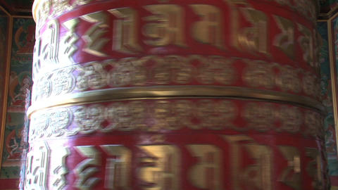 Close up from a big prayer wheel at Boudhanath Stu Footage