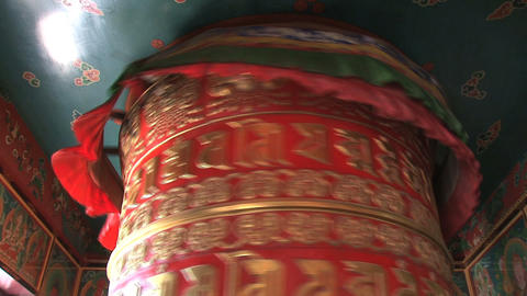 top from a big prayer wheel at Boudhanath Stupa Footage
