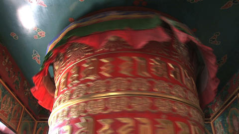 top from a big prayer wheel at Boudhanath Stupa Stock Video Footage