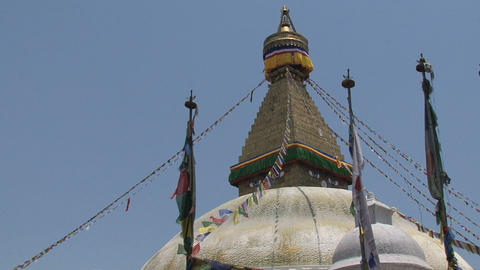 Prayer flags of the Boudha stupa Stock Video Footage