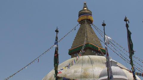 Prayer flags of the Boudha stupa Stock Video Footage