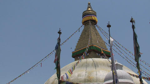 Prayer flags of the Boudha stupa Footage