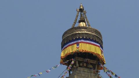 Top of the Boudha stupa in Kathmandu Stock Video Footage