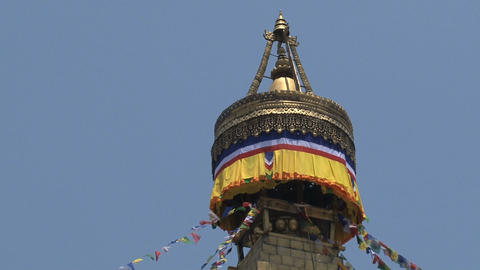 Top of the Boudha stupa in Kathmandu Footage