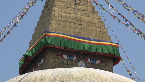 Eyes of the Boudha stupa in Kathmandu Stock Video Footage