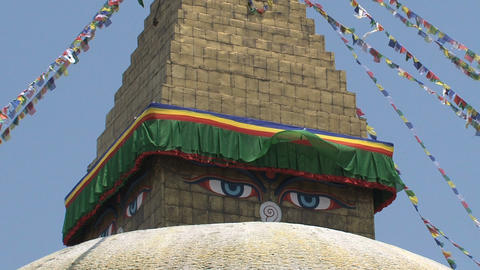 Eyes of the Boudha stupa in Kathmandu Footage