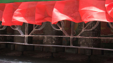 Prayer wheels at the Boudhanath stupa Stock Video Footage