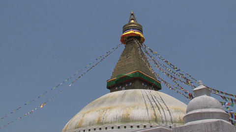 The top of the Boudhanath stupa Stock Video Footage