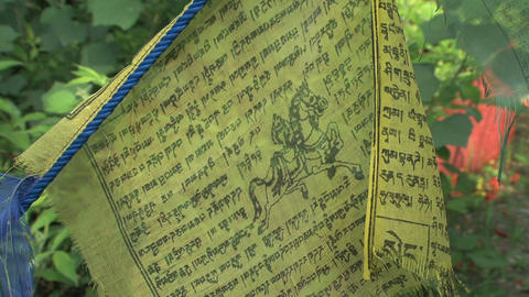 Close up prayer flag Stock Video Footage