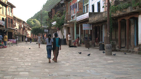 People walking down the street in Bandipur Stock Video Footage