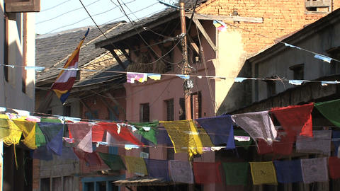 Prayer flags in the street of bandipur Stock Video Footage