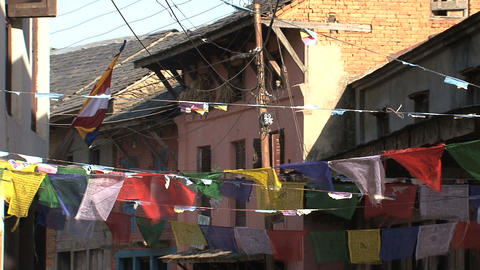 Prayer flags in the street of bandipur Footage