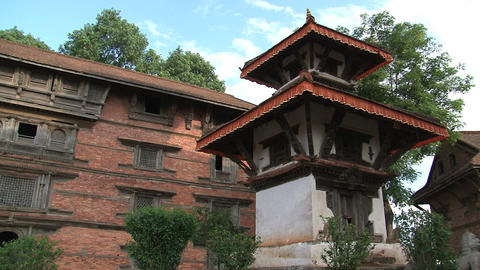 Pan of the temple within Nuwakot Durbar Square Stock Video Footage