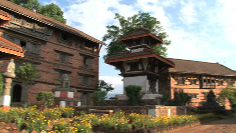 Pan of the temple within Nuwakot Durbar Square Footage