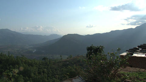 Pan from the mountain range Stock Video Footage