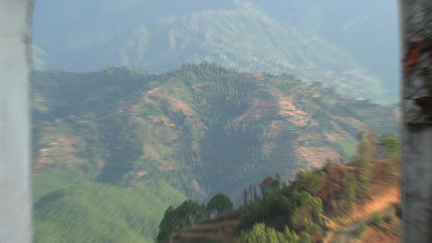 Zoom out from the mountain to Nuwakot Stock Video Footage