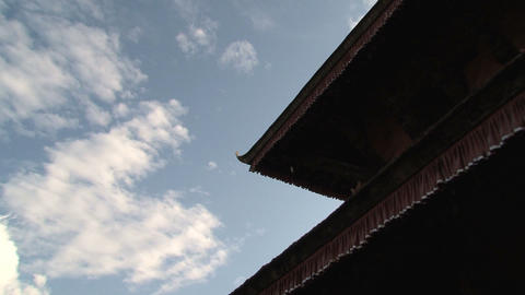 Temple rooftop zoom out Stock Video Footage