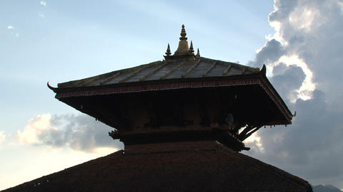 Clouds behind the Temple time lapse Footage