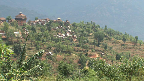 Nuwakot landscape view from a hill Footage