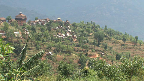 Nuwakot landscape view from a hill Stock Video Footage