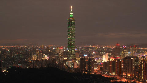 taipei 101tower timelapse at night Stock Video Footage