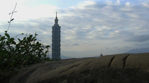 taipei 101 tower timelapse slider Stock Video Footage