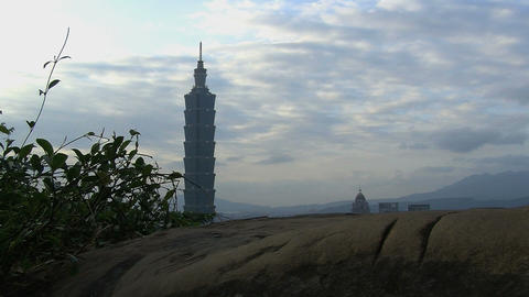 taipei 101 tower timelapse slider Stock Video Footage