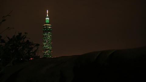 taipei 101 tower time lapse slider at night Stock Video Footage