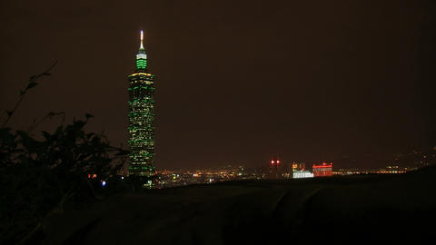 taipei 101 tower time lapse slider at night Footage