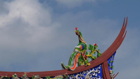 Taipei Confucius temple roof timelapse Stock Video Footage