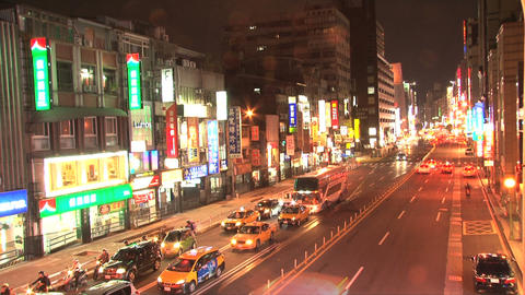 Taipei downtown traffic evening Footage