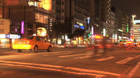 Taipei downtown traffic evening Stock Video Footage