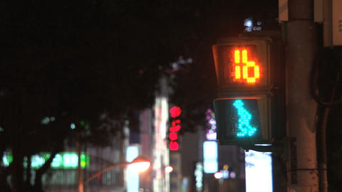 Taipei traffic light at night Stock Video Footage