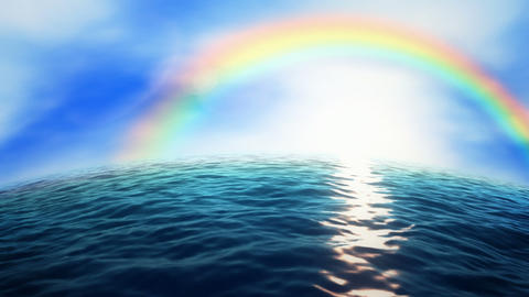 Rainbow Ocean stock footage