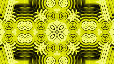 yellow disco circle and round shaped flower fancy... Stock Video Footage