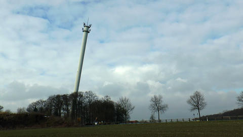 Controlled blasting and demolition operation of a tall radio tower Live Action