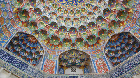 Details of Miri Arab Madrasah in Bukhara, Uzbekistan,Zoom in Stock Video Footage