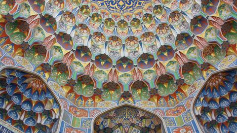 Details of Miri Arab Madrasah in Bukhara, Uzbekistan,Zoom in Stock Video Footage