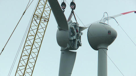 Montage Of Wind Rotor With Crane stock footage