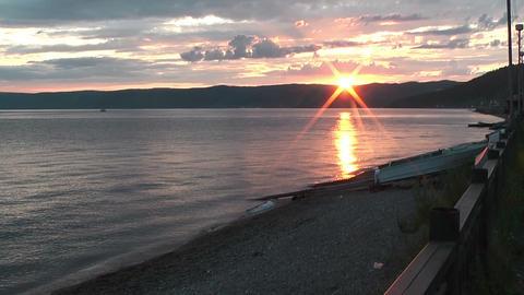 lake baikal in siberia sunset Footage