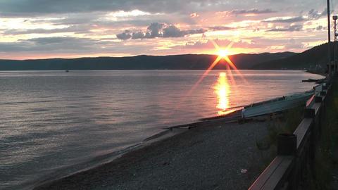lake baikal in siberia sunset Stock Video Footage