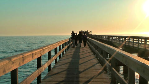 jetty in swakopmund during sunset Stock Video Footage