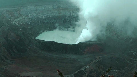 Crater Lake of Volcano Poas in Costa Rica Stock Video Footage