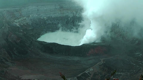 Crater Lake of Volcano Poas in Costa Rica Footage