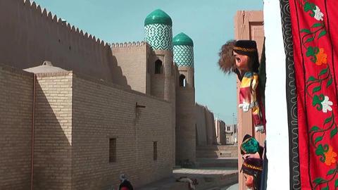 Historic wall in the inner city of Khiva,Uzbekistan Stock Video Footage